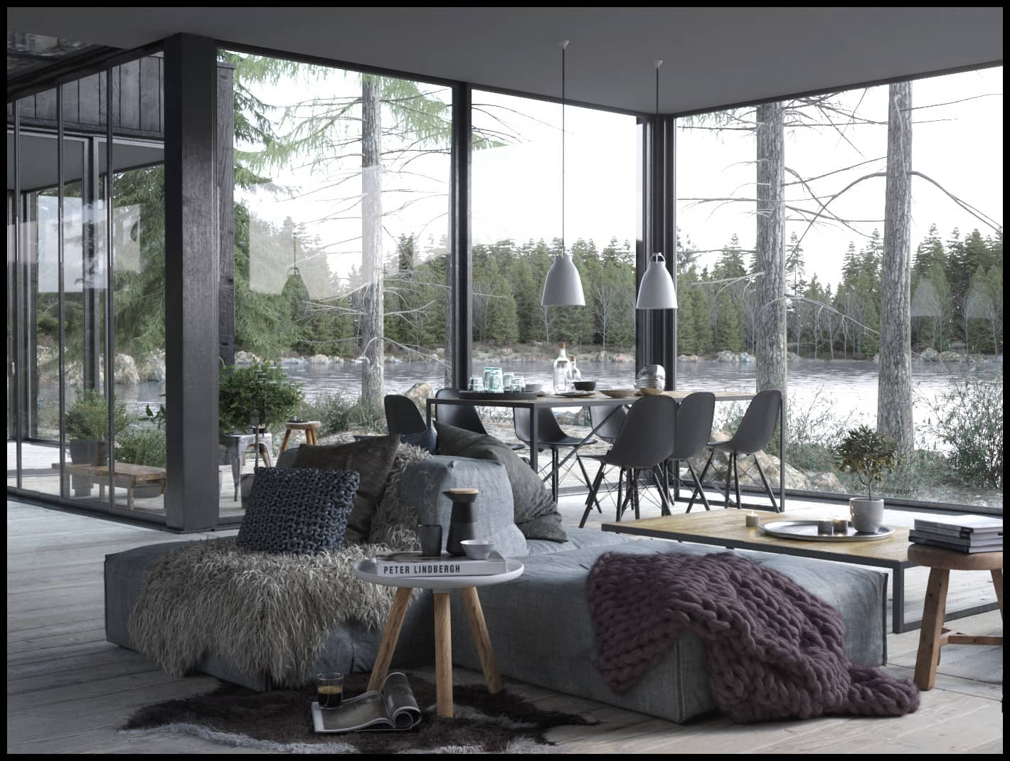Scandinavian Interior of Cabin in the Woods