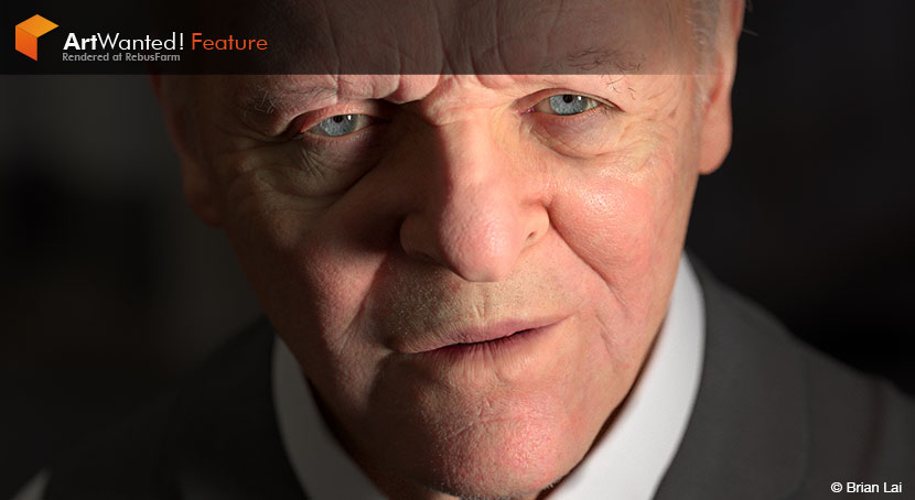 Brian Lai - 3D rendering of Anthony Hopkins